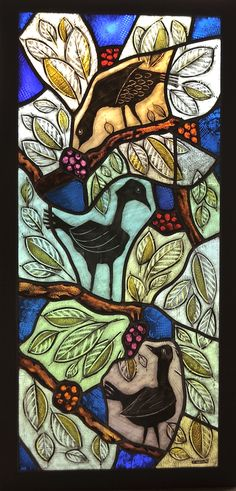 Three Birds   Stained glass panel by Greg Gorman