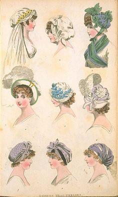 London Head Dresses, May 1800, Fashions of London & Paris