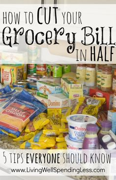How to cut your grocery bill in half--5 tips everyone should know.  Great tips for saving big on the food your family already buys, whether it be organic, vegetarian, or even gluten-free. A must read.