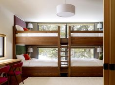 Article describing how having a bunk room aligns with the purpose of having a small house. Includes description of a century bunk room. Modern Bunk Beds, Cool Bunk Beds, Bunk Beds With Stairs, Bedroom Modern, Bed Stairs, Clean Bedroom, Contemporary Bedroom, Modern Contemporary, Adult Bunk Beds