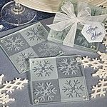 Frosted glass snowflake coasters set with organza ribbon