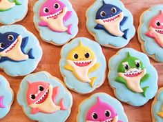 """13 """"Baby Shark"""" Birthday Party Ideas For Your Kiddo - Check This Out! 13 """"Baby Shark"""" Birthday Party Ideas For Your Kiddo - Shark Birthday Cakes, Baby Boy 1st Birthday, 3rd Birthday Parties, Birthday Ideas, 13th Birthday, Birthday Month, Baby Hai, Shark Cookies, Baby Cookies"""
