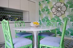 Kitchen with Rio wallpaper - Tropical Bliss by Maria Barros Home Collection  www.mariabarroshome.com