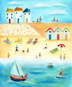 Ileana Oakley - beach scene beach huts.jpg