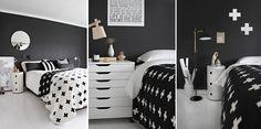 Sypialnia czarno-biała styl skandynawski
