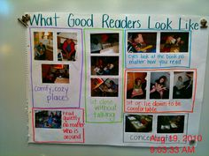 """What good readers look like. Look under anchor charts to read more about it. I would start with just words and as they are caught """"reading"""" correctly, take their picture and add to chart. Kindergarten Literacy, Literacy Activities, Literacy Stations, Literacy Centers, Preschool Class, Reading Centers, Early Literacy, Readers Workshop, Writing Workshop"""
