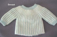 brassiere_unie, for new born, knit in one piece, in french Knitting Stitches, Knitting Yarn, Baby Knitting, Crochet For Kids, Crochet Baby, Knit Crochet, Tricot Baby, Baby Sweater Knitting Pattern, Bebe Baby
