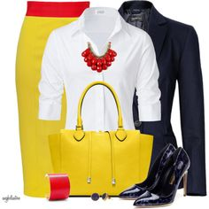 Navy, Red, Yellow Contest, created by angkclaxton on Polyvore
