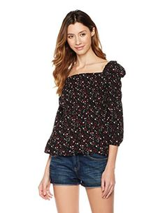 Superunion Womens Boat Neck Long Sleeve Smocking Blouse Casual Tops Small Black Print With Floral *** Find out more about the great product at the image link. (This is an affiliate link)