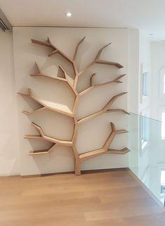 diy furniture and woodworking projects Tree Bookshelf, Bookshelf Design, Creative Bookshelves, Tree Shelf, Bookshelf Styling, Geometric Shelves, Wall Decor Design, Artwork Design, Wood Artwork