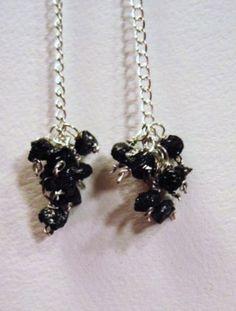 Black Beauty Rough Diamond Earrings by Created2Inspire on Etsy, $85.00
