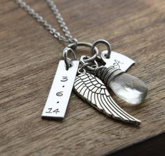 Remembrance Necklace Angel Wing Necklace Forever in our Hearts Another Angel in Heaven www.sierrametaldesign.com $32