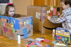 4 Tips for Extreme Box Decorating - Busy Toddler Outdoor Games For Preschoolers, Indoor Activities For Toddlers, Toddler Learning Activities, Infant Activities, Craft Activities, Preschool Chore Charts, Preschool Chores, Preschool Crafts, Toddler Schedule
