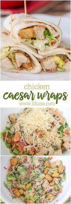 Chicken Caesar Wraps - simple, delicious and the perfect recipe for lunch or a picnic. #chickenfoodrecipes