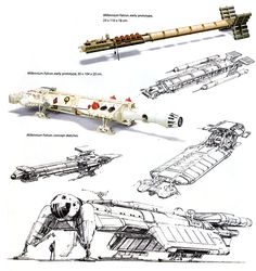 Preliminary sketches of the MILLENNIUM FALCON ✤ || CHARACTER DESIGN REFERENCES | キャラクターデザイン | çizgi film • Find more at https://www.facebook.com/CharacterDesignReferences http://www.pinterest.com/characterdesigh if you're looking for: bandes dessinées, dessin animé #animation #banda #desenhada #toons #manga #BD #historieta #sketch #how #to #draw #strip #fumetto #settei #fumetti #manhwa #anime #cartoni #animati #comics #cartoon || ✤
