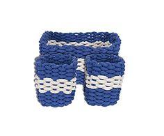 Набор из 3х корзин - Хлопок - синий, 36х26х20