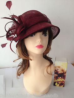 2014 Church Kentucky Derby Burgundy Maroon Hat Dress Wedding Tea Party 4d600f73634