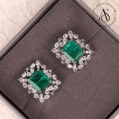 Emerald Earrings, Emerald Jewelry, Bridal Earrings, Silver Jewelry, Diamond Stud Earrings, Jade Jewelry, Green Earrings, Diamond Jewellery, Diamond Pendant