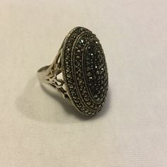 """Sterling Silver Macasite ring Beautiful...Size 8.5 measures 3 1/2"""" X  3"""" Sterling silver Jewelry Rings"""