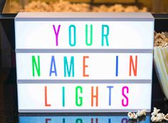 Cinematic Light Box - Coloured Letters. A new version of the cinematic light box which comes with coloured letters. The light box contains 85 coloured letters, numbers and symbols so you can make your special messages for any occasion! Extra black letter packs are available. #homeideas #giftideas #funhome #cinema #lightbox #cinematiclightbox