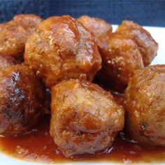 "Sweet and Sour Meatballs | ""Made this recipe for my son's birthday party and it was a hit. I made the meatballs a few days before and cooked the sauce on the stove the day of the party."""