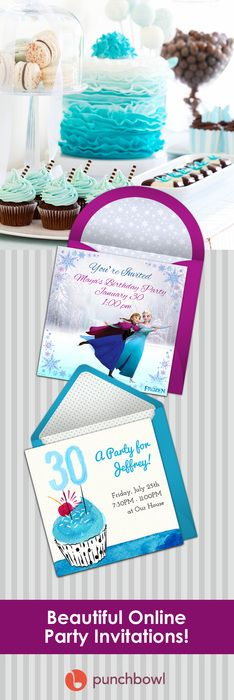 Paper invites are too formal, and emails are too casual. Get it just right with online invitations from Punchbowl. We've got everything you need for your birthday party.     http://www.punchbowl.com/online-invitations/category/47/?utm_source=Pinterest&utm_medium=33.5P