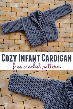This cozy infant cardigan is a free crochet pattern fitting sizes 3 - 6 month. Quick and easy! #crochet #crochetpattern #freepattern #boys #crochetforboys