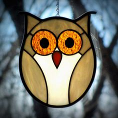 Stained Glass Golden Owl with Golden Eyes by LivingGlassArt