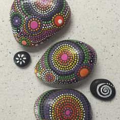 Beautify your coffee table with these colorful stones. Hand painted trio - fields of color collection #20 - $42.00 - one of a kind gift