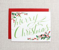 Holiday Greeting Card- Merry Christmas- A2. $3.50, via Etsy.