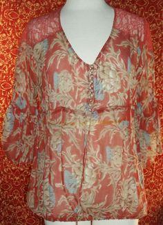 BCBG MAX AZRIA rust floral print silk 3/4 sleeve tunic blouse sz M (T21X2D5) #BCBGMAXAZRIA #Blouse #Casual