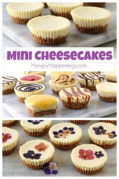How to make Mini Cheesecakes. These little desserts are great served plain or topped with chocolate ganache, caramel or strawberry sauce, lemon curd, peanut butter frosting, or even edible flowers. Mini Cheesecake Recipes, Cheesecake Cupcakes, Mini Desserts, Dessert Recipes, Simple Cheesecake Recipe, Cheesecake Bites, Baking Desserts, Dessert Party, Dessert Food