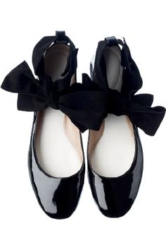Chloe patent flats with ribbon ankle wraps. I saw these in an ad. They're really pretty when somebody has them on.