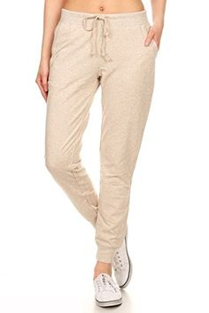 117ebb93b7a Leggings Depot Women s Classic Comfort and Soft French Terry Drawstring  Twill Jogger Cotton Pants (Small