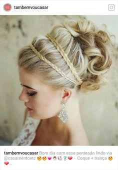 curly wedding updos, curly wedding hairstyles, wavy wedding hair - curly wedding updo with braided headband Romantic Wedding Hair, Wedding Hair And Makeup, Chic Wedding, Wedding Updo, Trendy Wedding, Glamorous Wedding, Prom Updo, Bridal Updo, Romantic Updo
