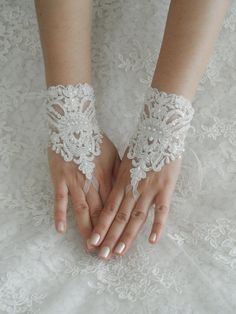 Wedding Gloves ivory lace gloves collar Fingerless by WEDDINGHome, $35.00