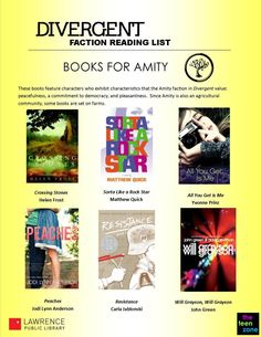 Is your Faction Amity? These books are for you! Divergent book choices based on factions. Divergent Factions, Divergent Book, Book Fandoms, Divergent Party, Insurgent Quotes, Divergent Quotes, Allegiant, Ya Books, Library Books