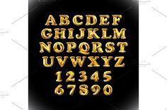 gold alphabet balloon vector by Rommeo79 on @creativemarket
