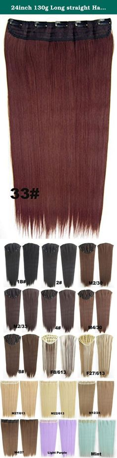 24inch 130g Long straight Hair Extension Clip in Hair Extensions 5 Clips Sexy?#33-dark aubum. Attention: 5pcs 130g is basic for full hair, it is thin, the buyers who want to have thick hair need to take 2 sets and more!!.
