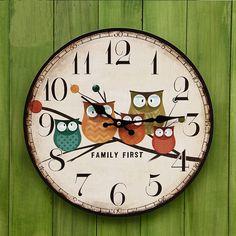 Rustic Vintage Beige Cute Owl Pattern Brief MDF Wall Clock $28.50