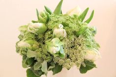 Love! Bridesmaid bouquet with green parrot tulips. One of my favorite blooms. Thank you Bonnie @ Ruby Reds Floral & Garden.