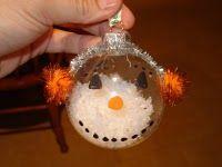 Clear Glass Snowman Ornament