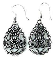 """-CAPRI-  """"Delicate scroll work gives these antique silver earrings an artistic feel. A perfect pairing for the Venezia necklace and Napoli ring."""" http://LMAWBY.mialisia.com"""