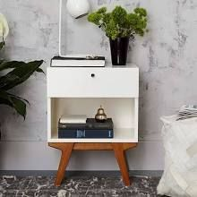 Modern Nightstand, White Lacquer at West Elm - Bedside Tables - Side Tables - End Tables
