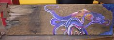 Acrylic octopus on reclaimed wood
