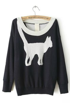 Cat Printing Pullover Sweater