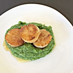 Scallops with Spinach Parsnip Mash & Relaxation - AIP Lifestyle - replace ghee with other solid cooking fat if needed