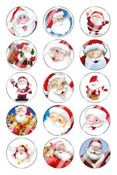 "Santa Christmas Bottle Cap 1"" Circle Images Sheet #1 instant download or precut"