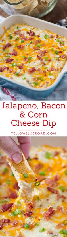 Creamy Jalapeno Bacon and Corn Cheese Dip - has it all – creamy, cheesy, spicy, sweet – it's a guaranteed crowd pleaser! Dip Recipes, Snack Recipes, Cooking Recipes, Cooking Tips, Snacks, Appetizer Dips, Yummy Appetizers, Appetizer Recipes, Jalapeno Corn Dip
