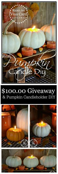 $100.00 100.00 AND REAL PUMPKIN CANDLEHOLDER DIY-Such an easy fun fall project and a great giveaway!-stonegableblog.com